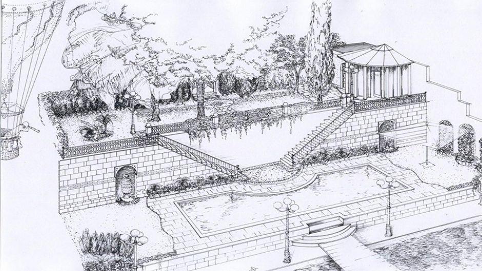 Sketch progetto per villa sul Bosforo, Istanbul, Turkey